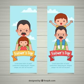 Banners de día del padre con familia feliz