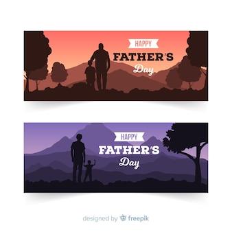 Banners del día del padre flat