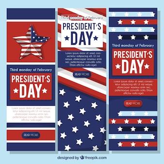 Banners del día del presidente con estrellas decorativas blancas