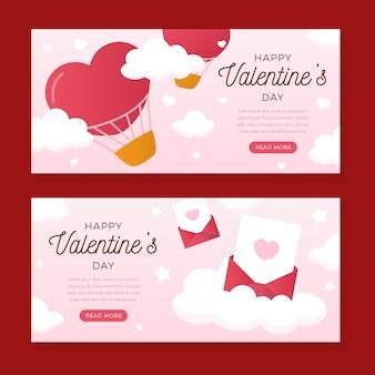 Banners del día de san valentín de diseño plano