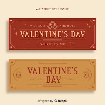Banners del día de san valentín vintage