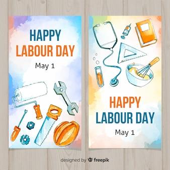 Banners del día del trabajador en acuarela