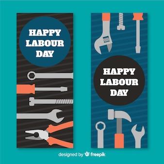 Banners del día del trabajador dibujado a mano