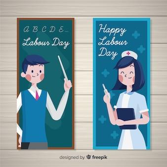 Banners del día del trabajador dibujados a mano