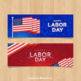 Banners del día del trabajo de ee.uu. con diseño plano
