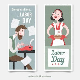 Banners del día del trabajo con escritor y ama de casa en diseño plano