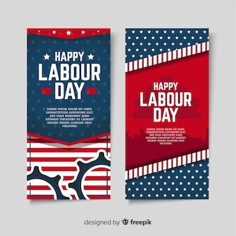 Banners del día del trabajo de estados unidos en estilo plano