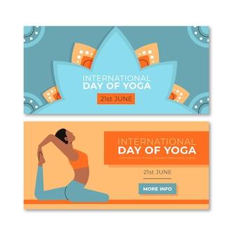 Banners de día de yoga de diseño plano