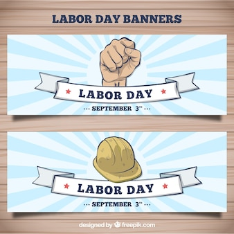 Banners dibujados a mano del día del trabajo americano