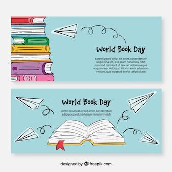 Banners dibujados a mano para el día internacional del libro