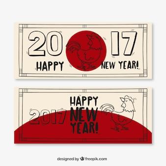 Banners dibujados a mano para el año nuevo chino con detalles rojo