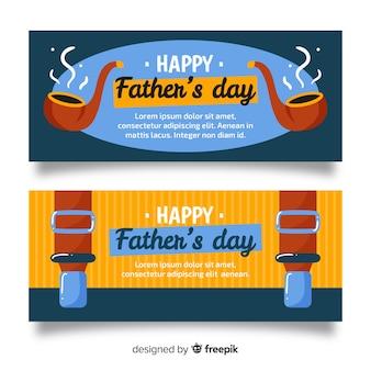 Banners dibujados a mano del día del padre