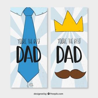 Banners dibujados a mano en estilo vintage para el día del padre