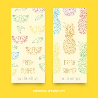 Banners dibujados a mano con frutas veraniegas