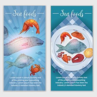 Banners dibujados a mano de mariscos