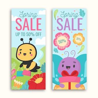 Banners dibujados a mano de primavera con insectos y regalos