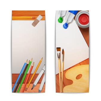 Banners de dibujo conjunto vertical.