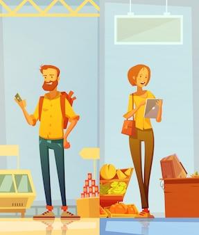 Banners de dibujos animados felices