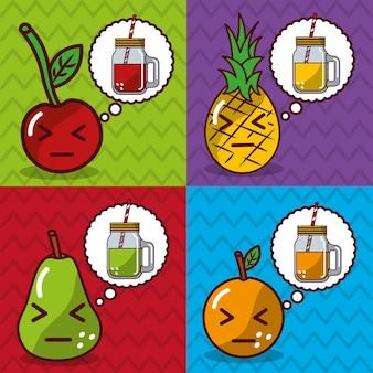 Banners de dibujos animados kawaii de frutas y jugos