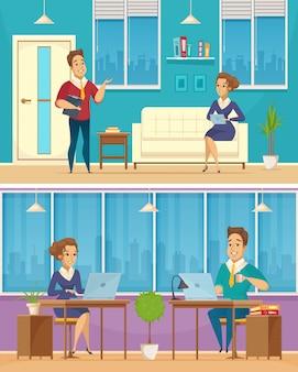 Banners de dibujos animados de personajes de oficinista