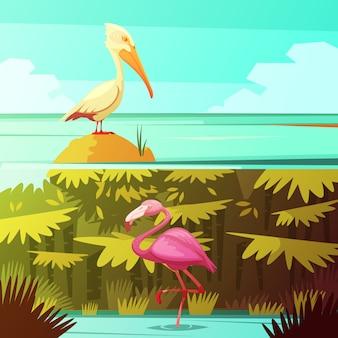 Banners de dibujos animados retro de la selva tropical 2 con flamencos rosados y pelícanos