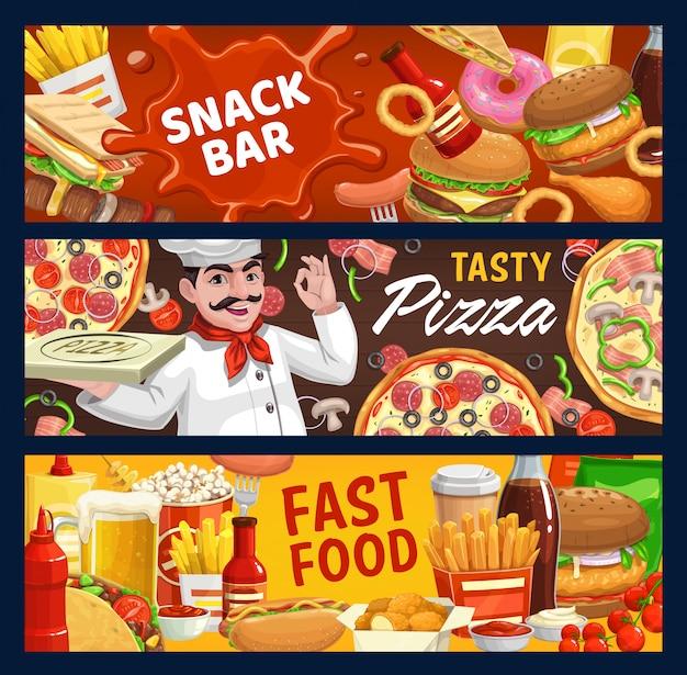 Banners de dibujos animados de vector de comida rápida y snack bar