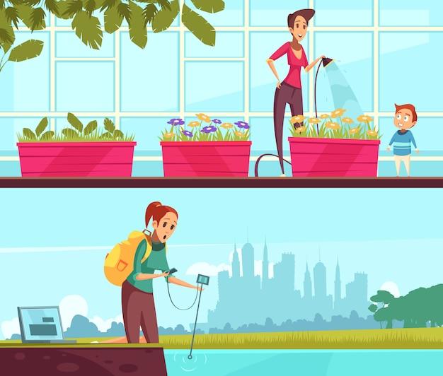 Banners de dibujos animados de voluntariado ecológico