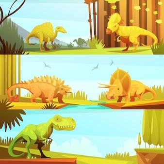 Banners de dinosaurios en ambientes prehistóricos en estilo de dibujos animados retro