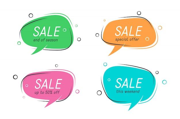 Banners de discurso plano en forma de burbuja, etiquetas de precios, pegatinas