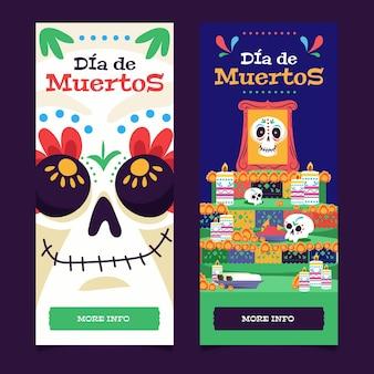 Banners de diseño plano de dia de muertos