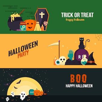Banners de diseño plano de hallowen