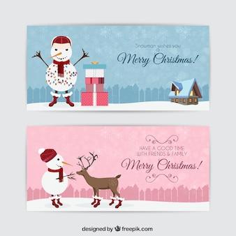 Banners divertidos de muñeco de nieve navideño