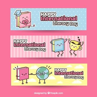 Banners divertidos de personajes del día de la alfabetización