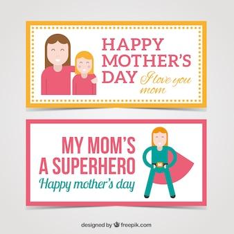 Banners divertidos planos del día de la madre