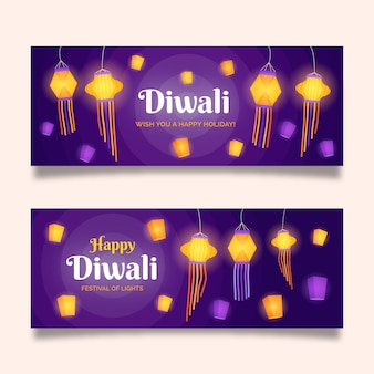 Banners de diwali con lámparas