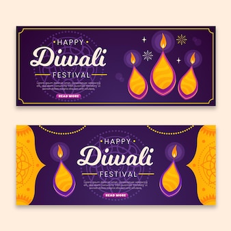 Banners de diwali con llama