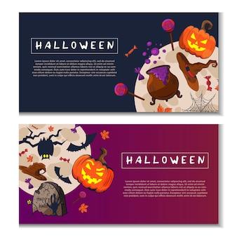 Banners de doodle de halloween
