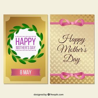 Banners dorados de feliz día de la madre