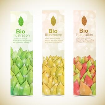 Banners ecológicos abstractos de naturaleza con hojas de otoño
