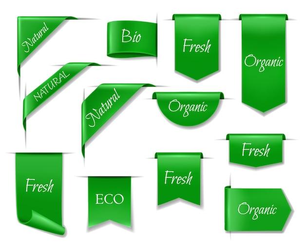 Banners ecológicos verdes, iconos 3d aislados o etiquetas para productos naturales
