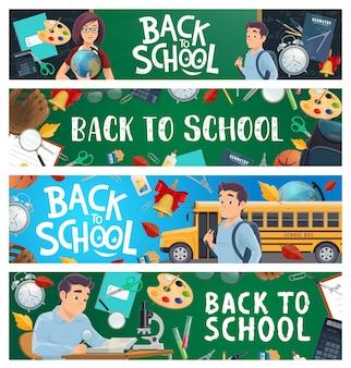 Banners de educación escolar con alumno de dibujos animados