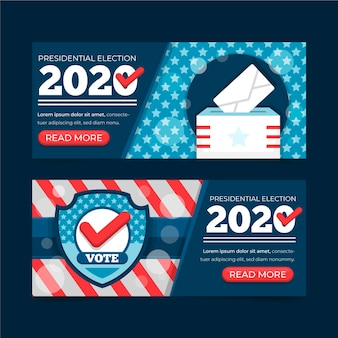 Banners de elecciones presidenciales de 2020 en estados unidos