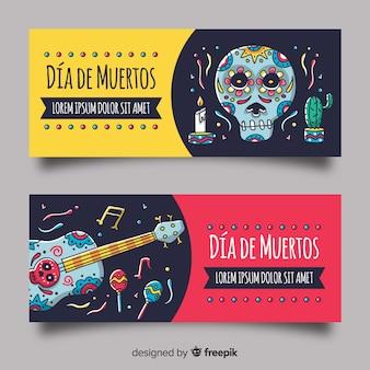 Banners elegantes del día de muertos