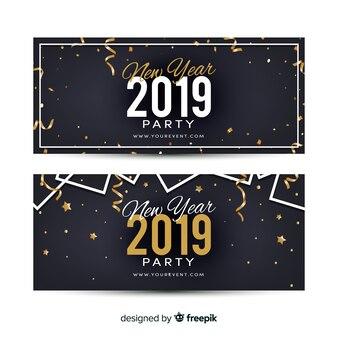 Banners elegantes de fiesta de año nuevo