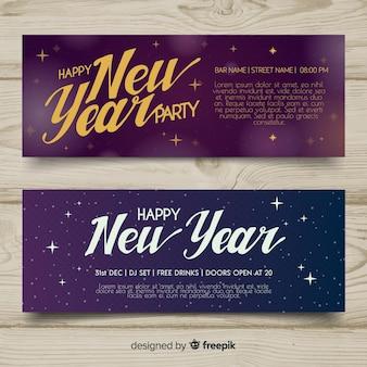 Banners elegantes de fiesta de fin de año