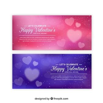 Banners elegantes rojos y azules para el día de san valentin
