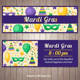 Banners de elementos de fiesta de mardi grass
