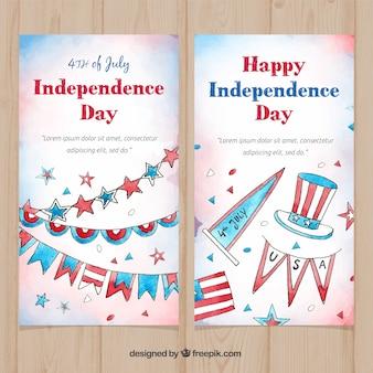 Banners en acuarela del día de la independencia de ee.uu.