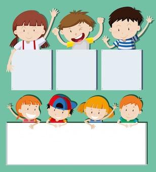 Banners en blanco con niños felices