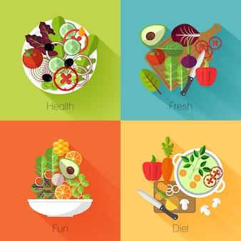 Banners de ensalada fresca. vegetal y aguacate, producto natural, comer repollo y zanahoria, dieta nutricional vitamínica.